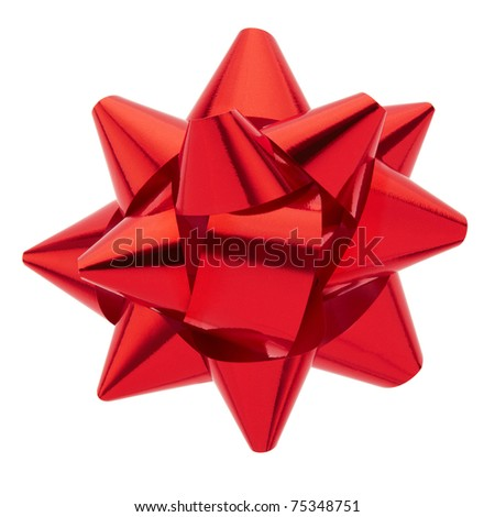 Red ribbon bow isolated on white, clipping path included - stock photo