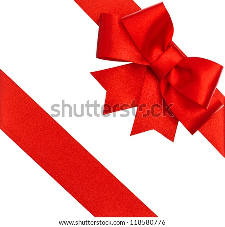 red ribbon bow isolated on white. holiday background - stock photo