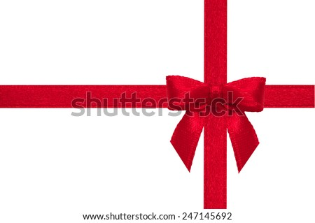 Red ribbon Bow on a white background with clipping paths. - stock photo