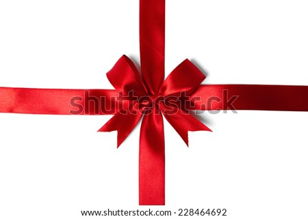 Red ribbon bow on white background. studio shot - stock photo