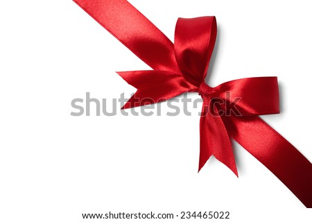 Red ribbon bow on white background. studio shot - stock photo