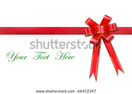 Red ribbon bow on white background with space for message - stock photo