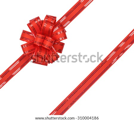 Red ribbon bow with glitter on white background