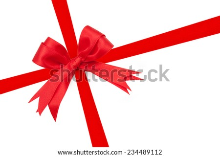 Red ribbon double bow on white background preparation for gift wrapping - stock photo
