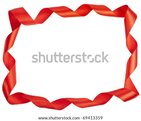 red  ribbon frame isolated on white background - stock photo