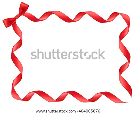 red ribbon frame on white background - stock photo