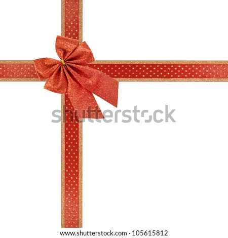 red ribbon gift bow present isolated on white - stock photo