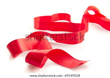 Red ribbon isolated on the white background - stock photo