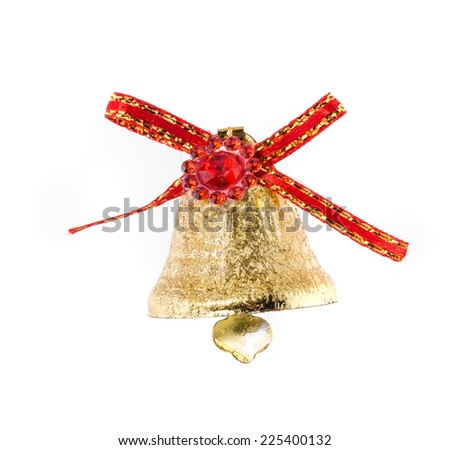 Red ribbon on Christmas kindle bell. Isolated on a white background. - stock photo