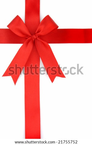 Red ribbon on isolated white background