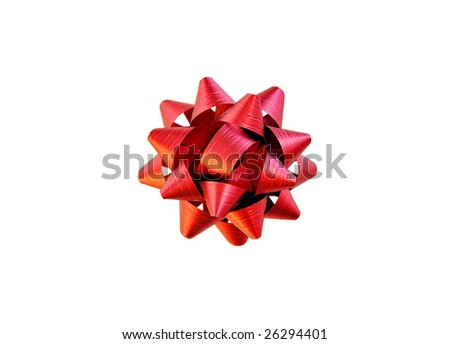 Red ribbon on white with clipping path.