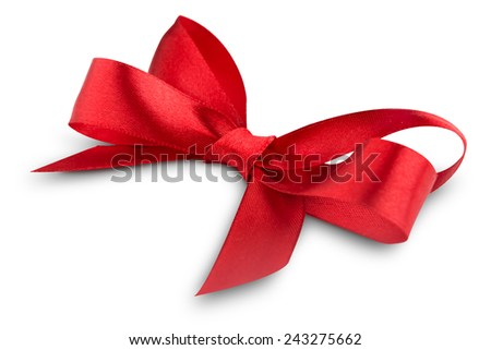 Red ribbon satin bow isolated on white background
