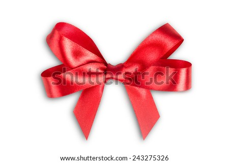 Red ribbon satin bows isolated on white