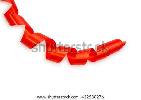 red ribbon serpentine solated on white background - stock photo