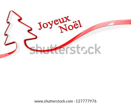 Red ribbon shaped like a Christmas Tree with Joyeux Noel - stock photo