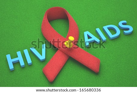 Red ribbon, symbol of a commitment to the fight against HIV/AIDS. - stock photo