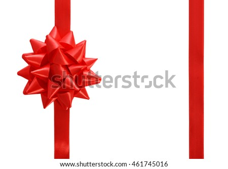 Red ribbon with big bow isolated on white