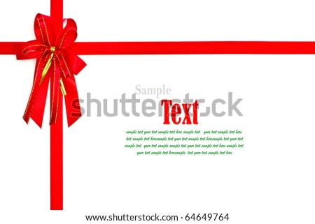 Red ribbon with bow on white background with copy space. - stock photo