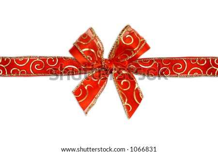 red ribbon with gold trim - stock photo