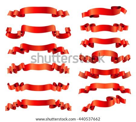 red ribbons set on white. raster - stock photo