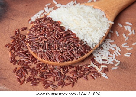 red rice, and white rice. Shallow DOF - stock photo