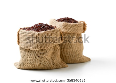 red rice in sack bag