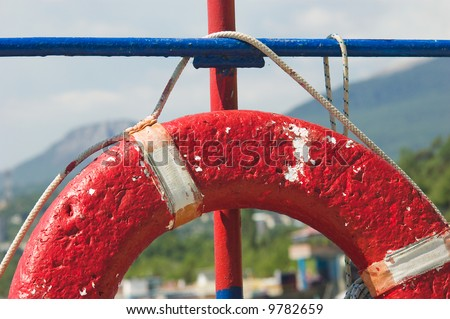 red ring-buoy. close view - stock photo