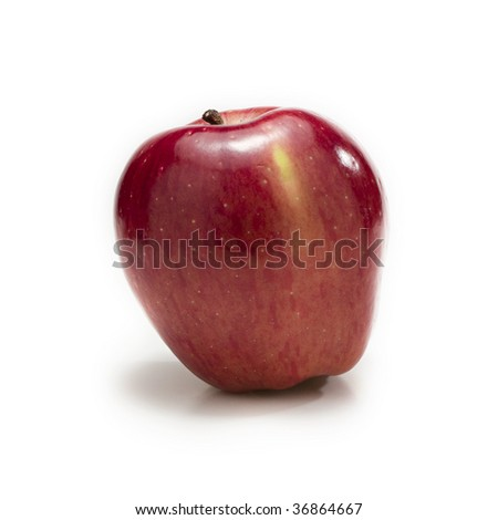 Red ripe apple isolated on a white
