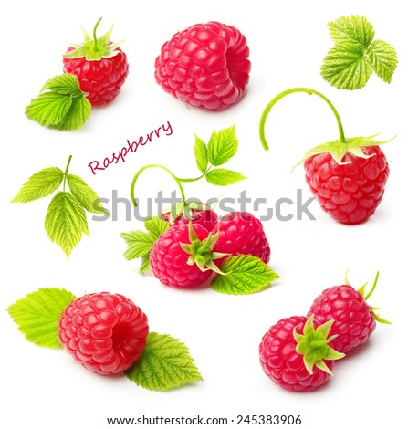 Red ripe berry raspberry isolated on white background - stock photo