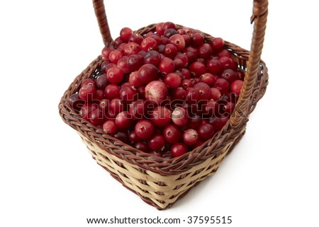 Red ripe Cranberries in wicker basket close up