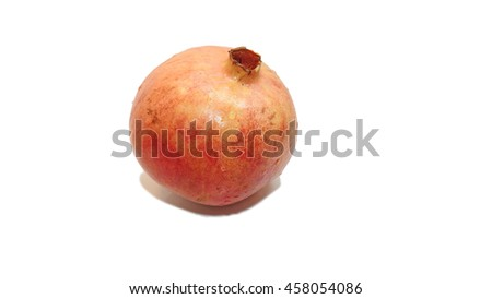 Red ripe pomegranate isolated on white background - stock photo