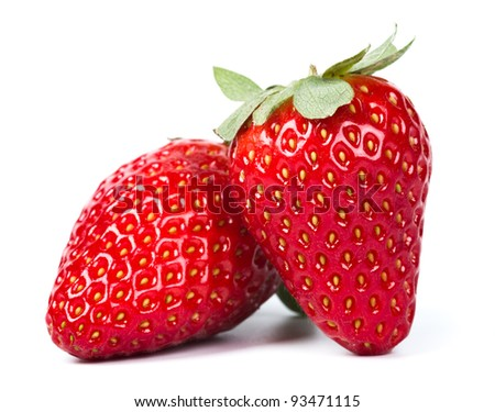red ripe strawberries isolated on white background - stock photo