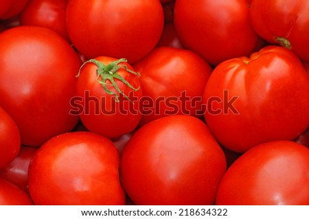 Red ripe tomatoes as background            - stock photo