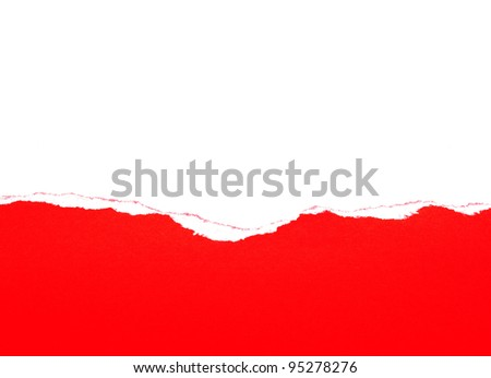 red ripped paper on white background - stock photo
