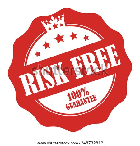 Red Risk Free 100% Guarantee Stamp, Badge, Icon, Label or Sticker Isolated on White Background  - stock photo