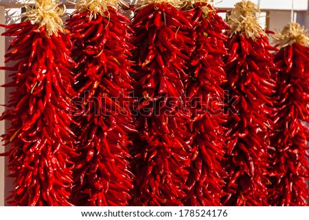 Red, ristra hanging chili peppers as a background - stock photo