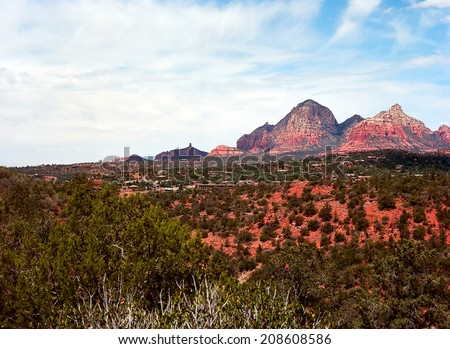 Red Rock country mountains surrounding Sedona Arizona - stock photo