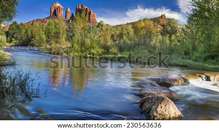 Red Rock Crossing on Oak Creek at the base of Cathedral Rock in Sedona  Arizona. - stock photo