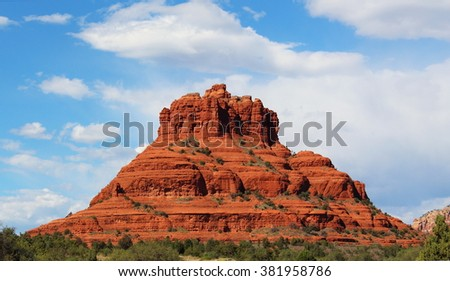 Red Rock Formation in the Wild West Desert of the south west America with Cactus - stock photo