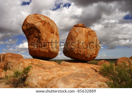 Red rock formations of the Devil's marbles or Karlu Karlu in the Northern Territory of Australia