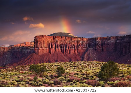 Red rock formations, sunrise near Torrey, Utah, USA - stock photo