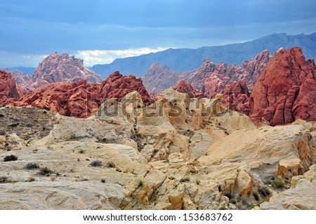 Red Rock Landscape, Valley of Fire, Nevada, USA - stock photo