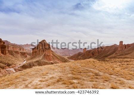 red rock mountain in Zhangye, Gan su province in China - stock photo
