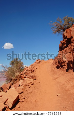 Red rock track in Grand Canyon - stock photo