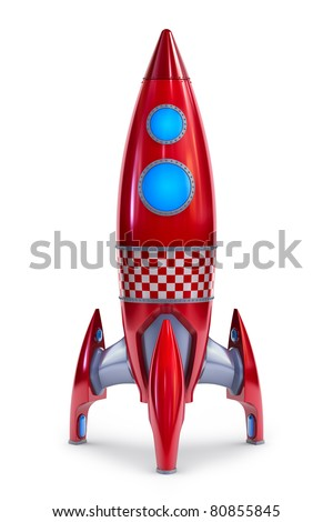 Red rocket concept - stock photo