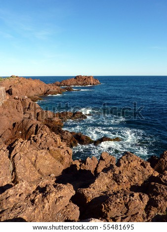 Red rocks and mediterranean sea at Esterel massif, south of France