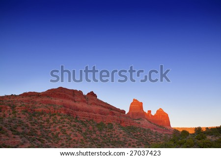 Red Rocks at sunset - stock photo