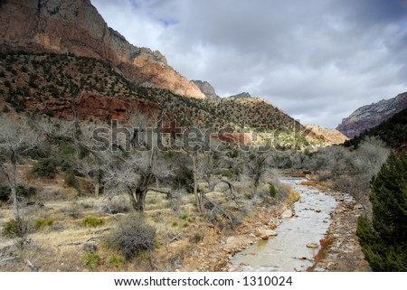 Red rocks, bare winter trees, and gorgeous light: the Virgin River in Zion National Park, Utah. - stock photo