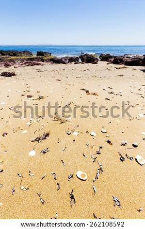 Red Rocks Beach on sunny day, Phillip Island, Victoria, Australia. Red rocks in foreground with vivid blue sky and turquoise water. Background texture and copy space. - stock photo