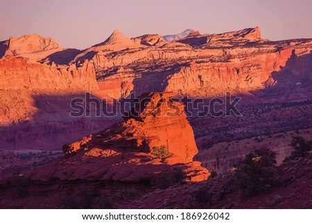 Red Rocks Sunset Scenery. Capitol Reef Sunset. Utah, United States.